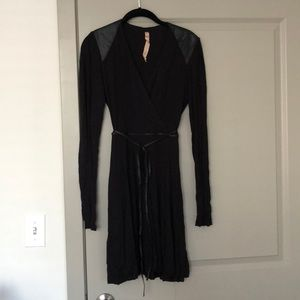 Bailey 44 Black Leather & Cotton Dress Size M